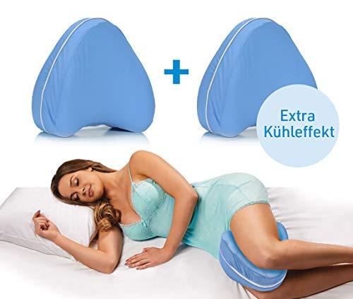 Dreamolino Cool Leg Pillow | 2 Stück | Komfort für Seitenschläfer | ergonomisches Knie- und Beinruhe-Kissen | stützt Knie & Beine | Memory Foam | Kühl-Gel-Effekt | Das Original aus dem TV