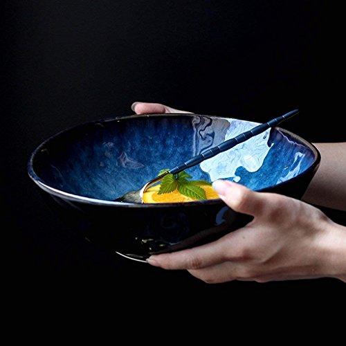 LYQZ Style Japonais Bleu Vaisselle en céramique créatif Bol Ramen Maison Grand Bol de Soupe Bol de Salade de Fruits (Size : 7 inch)