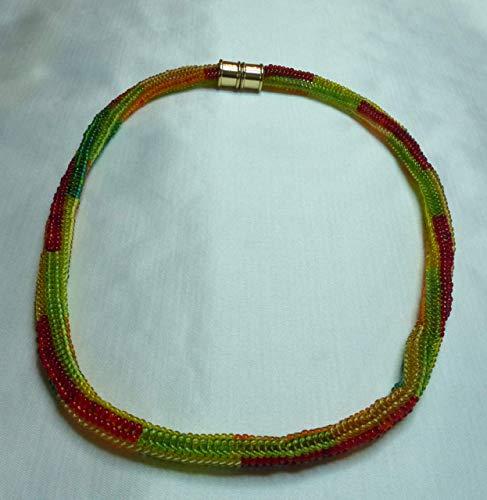modische gelb, orange, rote, grüne gefädelte Kette im Herringbone Stil, Magnetverschluss