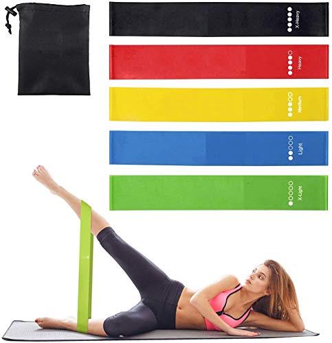 App Life Elastici Fitness, [Set di 5] Banda Elastica Fasce Elastiche di Resistenza di Lattice Naturale con Istruzioni per l'esercizio in Italiano e Borsa per Il Trasporto per Crossfit, Yoga, Pilates