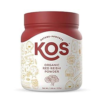 KOS Organic Red Reishi Mushroom Powder - Pure Ganoderma Lucidum  10 1 Reishi Extract  - Immune System Support Mood Booster- Potent Reishi Mushroom Supplement - 7.58 oz.
