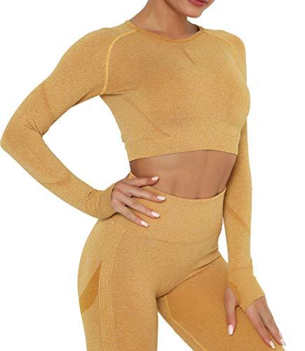 Lalamelon Yoga Camiseta Deportiva Mujer Manga Larga sin Costuras Crop Top Deporte para Fitness Running Gimnasio Elásticos y Transpirables