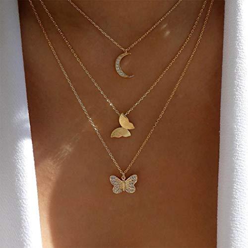 Handcess Boho Collane multistrato Collana con ciondolo luna d'oro Collana girocollo a farfalla con cristallo per donne e ragazze