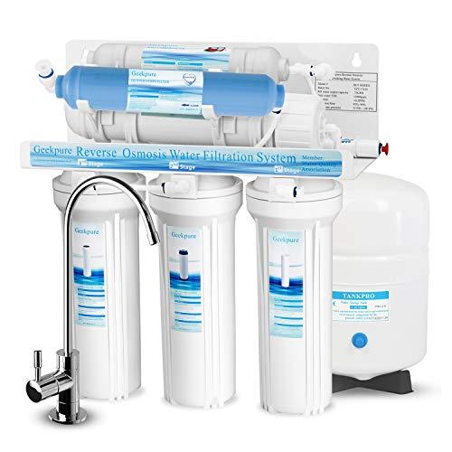 Geekpure 6-Stufiges Umkehrosmose-Trinkwasserfiltersystem mit DI-Filter TDS bis 0-75GPD