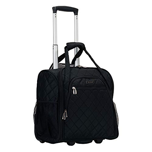 Rockland Melrose Upright Wheeled Underseater Carry-On Luggage, Black, 16-Inch