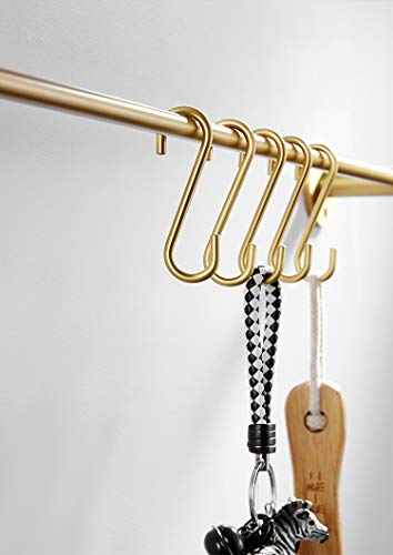 Hanging Hooks 5 Pieces,Brass S Shaped Hook Hangers for Kitchen Bathroom,Brushed Gold