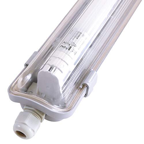 proventa® Luminaria pantalla estanca LED IP65 120 cm. Tubo LED incluido 4.000K 18W 1.800 lúmenes. Protección IK08. Clase energética A+