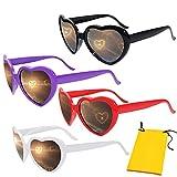 Komake Gafas de Corazón 3D,Gafas 3D Corazones,4 Piezas Gafas Divertidas Gafas de Efectos Especiales para Música de Carnaval al Aire Libre Fiesta Bar Fuegos Artificiales(Negro,Rojo,Blanco,Púrpura)