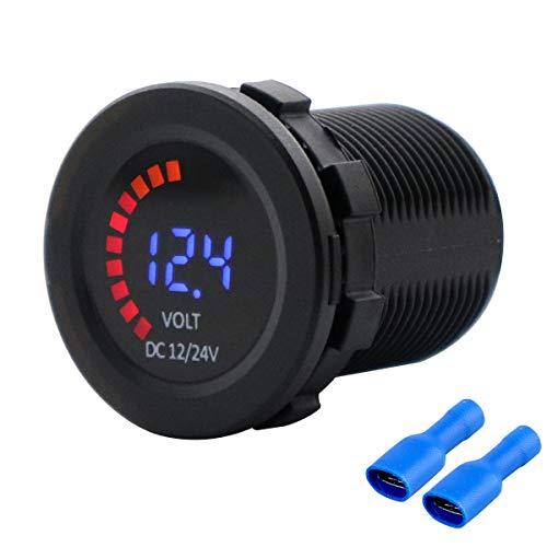 HIMOZEAN LED Digitale Anzeige KFZ Voltmeter 12V 24V Spannungsmesser für Auto Camper Boot Wohnmobil Wohnwagen Batterie Anzeige Steckdose