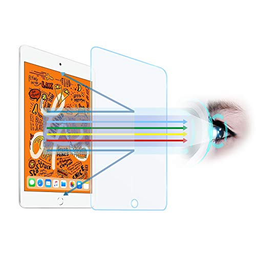 ZOODGO 7.9'Anti Blue Light Tempered Glass Screen Protector[2 Pack] for iPad mini 4/mini 5th 7.9-inch [Eye Care,Relieve Eye Fatigue]Blocks Excessive Harmful Blue Light & UV 9H Anti Glare Anti-Scratches