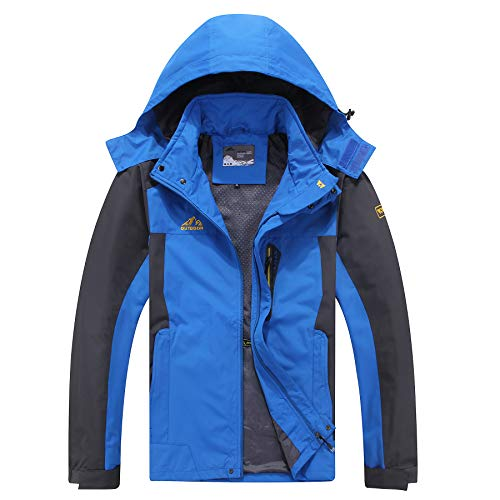 Kolongvangie Waterproof Mountain Hiking Active Jacket Raincoat for Men Winter Breathable Outerwear for Trip