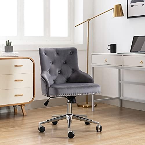 Irene house Bürostuhl,gepolstert Stuhl,Schreibtischstuhl,PC Stuhl,Drehstuhl Chefsessel mit verstellbaren Höhe und Rücken für Home Office grau