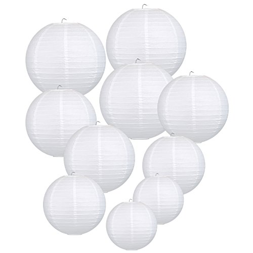 LIHAO White Hanging Paper Lanterns for Wedding Party Decoration, 4 Size - 10 Piece