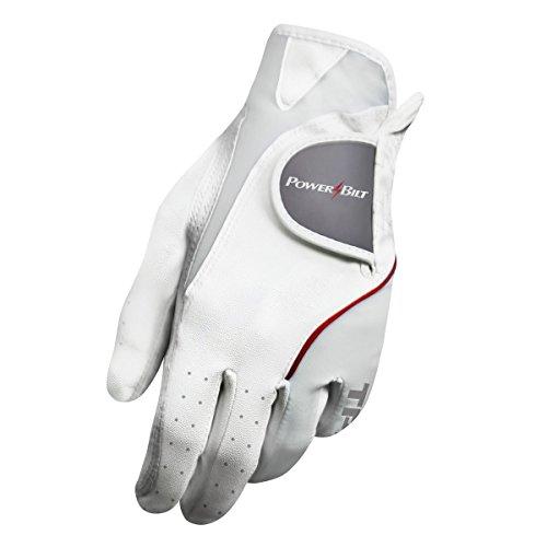 Powerbilt TPS Cabretta Tour Golf Glove - Ladies LH Large, White(Large, Worn on Left Hand)
