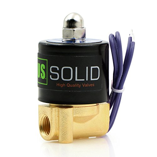 1/4' NPT Brass Electric Solenoid Valve 12VDC Normally Closed VITON (Standard USA Pipe Thread). Solid Brass, Direct Acting, Viton Gasket Solenoid Valve by U.S. Solid.