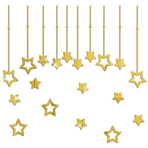 BHSTAR Solid and Hollow Star Set Mirror Wall Stickers Decals Self Adhesive Acrylic Home Decoration Gold Reflection
