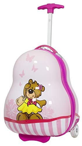 Trendyshop365 Kinder-Koffer Hartschale Teddy-Bär Pink 41 Zentimeter 16 Liter 2 LED-Räder Handgepäck