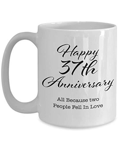 Regalo de aniversario de 37 años para hombres, su pareja, esposo, esposa, padres, él, mujeres, novio, novia, feliz 37a boda, taza de café