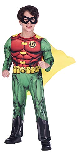 BOYS SUPERHERO COSTUME - CLASSIC ROBIN - SMALL (4 - 6 YEARS)