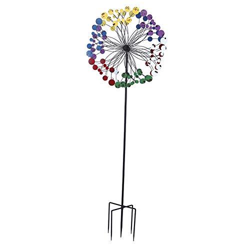 Garten-Windmühle, bunte Eisen-Spinner, 183 cm, wetterfest, für Terrasse, Hof und Terrasse