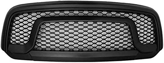 Grille Compatible With 2013-2018 Dodge Ram 1500   R Style ABS Plastic Black Front Bumper Grill Hood Mesh by IKON MOTORSPORTS   2014 2015 2016 2017
