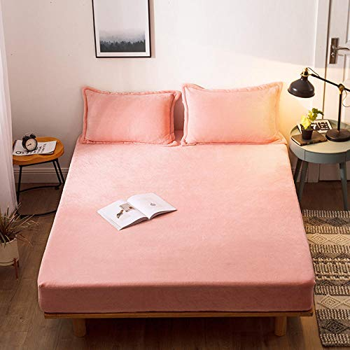 JRDTYS Non-Iron Bedding Fitted Sheet with All Around Elastics Brushed Microfiber BreathablePure color thick warm bed sheet-Jade_200cm×220cm