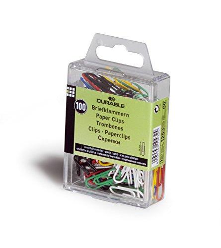 DURABLE Hunke & Jochheim Briefklammer, Metall, 26 mm, farbig sortiert, Kunststoffschachtel mit 100 Stück