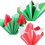 Lulu Home 180 Sheets Christmas Tissue Paper, Assorted Colors(White, Green, Red) Premium Quality Tissue Gift Wrapping Paper Crafts