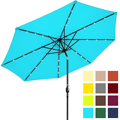 Best Choice Products 10-Foot Solar Powered Aluminum Polyester LED Lighted Patio Umbrella w/Tilt Adjustment and Fade-Resistant Fabric, Light Blue