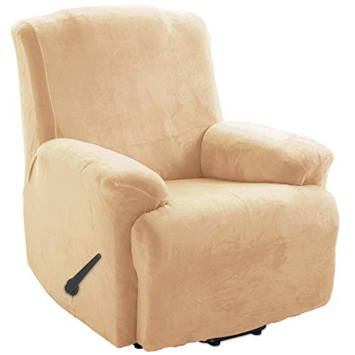 TIANSHU Samt Ruhesessel bezüge,Soft Velvet Plush Couchbezug stilvolle Luxus-Möbelbezüge Anti-Rutsch-High Stretch Relaxsessel bezüge(Ruhesessel,Warmer Sand)