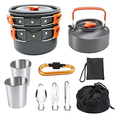 10 Stücke Camping Kochutensilien und Süße Kit, Light Pot mit 2 Tassen, 2-3 Personen Teekanne Set Pot, geeignet für den Außenbereich Rucksack Wandern Picknick (Color : Orange)