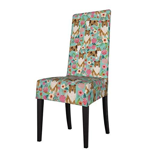 Funda de Asiento para Silla Rough Collie Florals Cute Collies Design Fundas para sillas de Comedor Fundas elásticas Protector de Silla Lavable