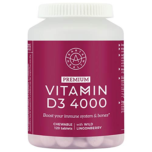 Chewable Vitamin D 4000iu Tablets - Great Taste from Nordic Lingonberry - Premium High Strength Vitamin D3 - Immune System Support - 120 Small Tablets - Made in Finland by Aarja Health