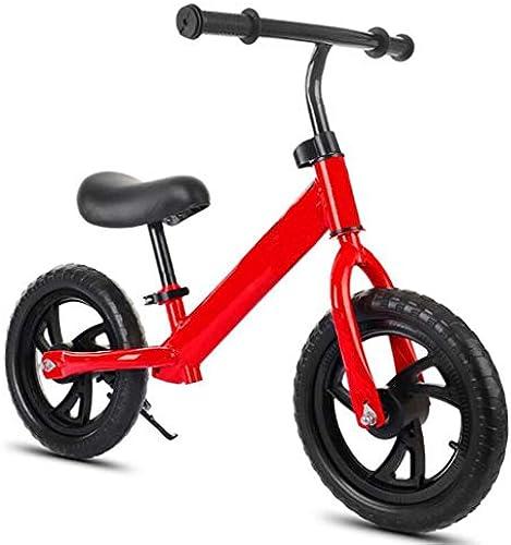 Kinderfürrad 12 Zoll Laufrad ZWeißd kein Pedal Gehen Lauftraining fürrad Kinder Laufrad Reiten Lernrad Pedal Baby Rad geeignet für 2-6 Jahre alte Jungen und mädchen (Farbe   Rot)