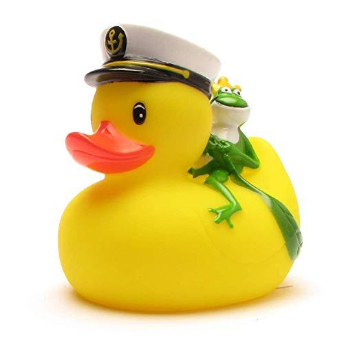 Duckshop I Badeente I Quietscheente I Kapitän Ente mit Froschkönig - inkl. Badeenten-Schlüsselanhänger im Set