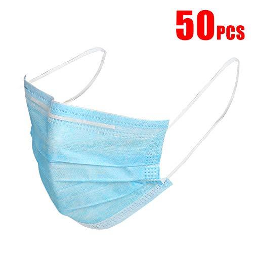 50 PCS Einweg Maske Atemschutzmaske Mundmaske 3-Lagen-Maske für Rauch Staub mit verstellbaren Nasenclips