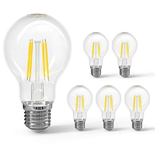 Aigostar Bombilla LED E27 Vintage, 6W Equivalente a 54W, Blanco Fria 6500K, Transparente Bombillas A60 LED, 700 Lumen, No regulable, Pack de 5