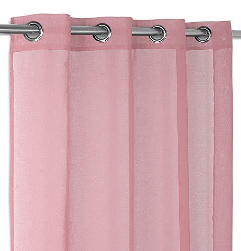 Luftiger Ösenschal in Uni Farben, hochwertige Gardine mit Ösen 140x260 cm Farbe wählbar (Altrosa)