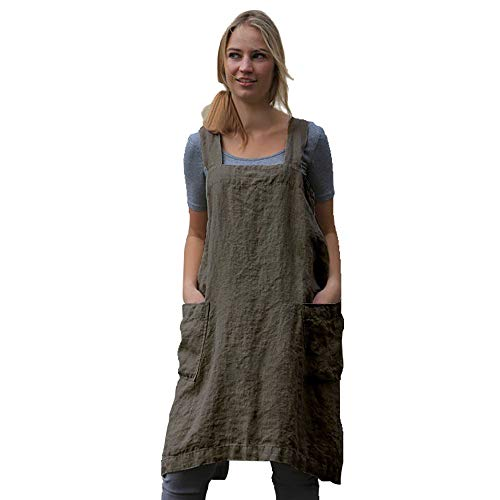 Women's Pinafore Square Apron Baking Cooking Gardening Works Cross Back Cotton/Linen Blend Dress with 2 Pockets