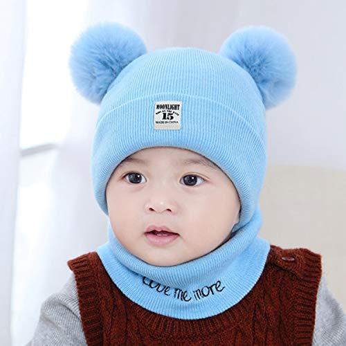 Nosii 2-delig/set pasgeborenen kleine kinderen kinderen breien warme winter hoed Bobble beanie Cap + O ring sjaal halsdoek