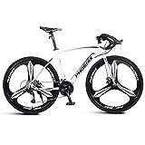 NENGGE Adulto Bicicleta de Carretera, Hombre Freno de Disco Mecánico Bicicleta, Marco De Acero De Alto Carbono, Bicicleta de Carreras,Blanco,27 Speed 3 Spoke
