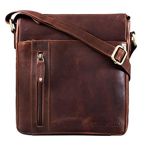 STILORD \'Brady\' Messenger Bag Leder Braun klein Umhängetasche Schultertasche für iPad 10,1 Zoll Tabletttasche Echtes Leder, Farbe:Porto - Cognac