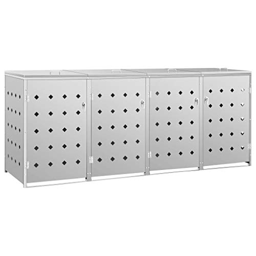Canditree Large Horizontal Storage Shed Stainless Steel for Outdoor Trash Cans, Yard Tools, Weather Resistant