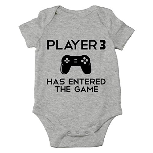 Player 3 Has Entered The Game - I'm a Gamer Like My Daddy - Cute One-Piece Infant Baby Bodysuit (Newborn, Sports Grey)