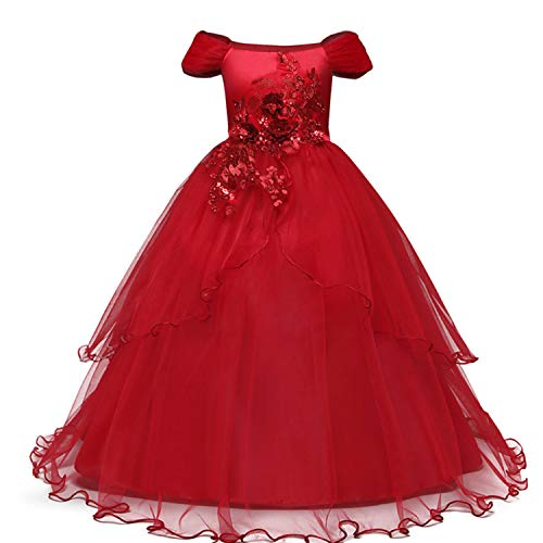 TTYAOVO Mädchen Festzug Ballkleider Kinder Bestickt Brautkleid (Größe170) 13-14 Jahre 431 Rot