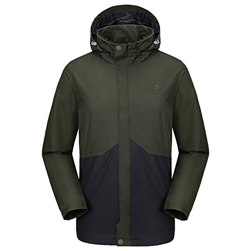 CAMEL CROWN Mens Waterproof Jacket Hooded Windbreaker Windproof Rain Coat Shell for Outdoor Hiking Climbing Traveling Army-Green M