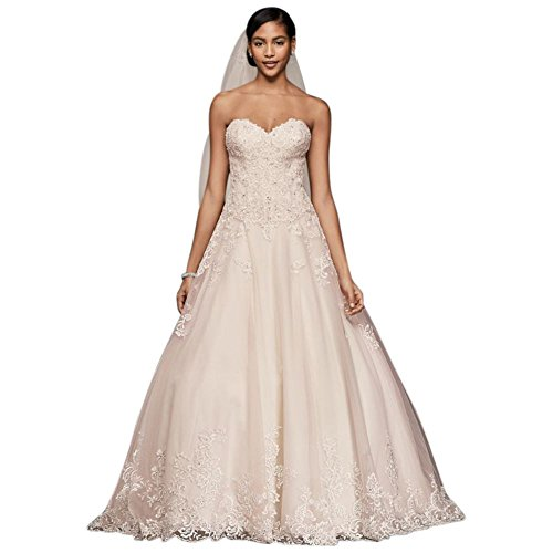 David's Bridal Beaded Lace and Tulle Ball Gown Wedding Dress Style V3836, Vintage Rose, 10