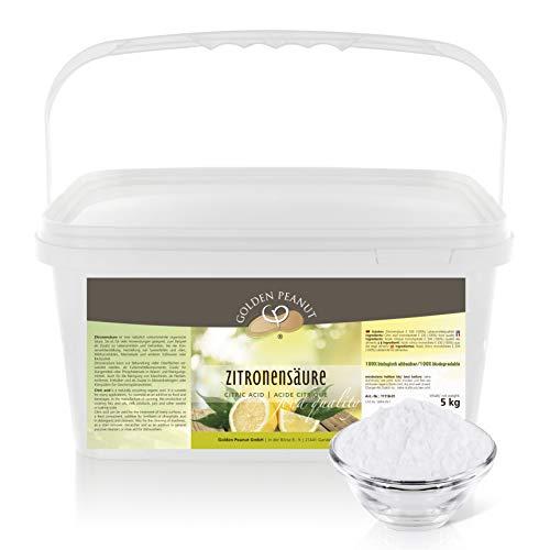 Zitronensäure monohydrat E-330 5 kg | Lebensmittelqualität |ohne Gentechnik | geprüfte Qualität | Entkalker | Golden Peanut