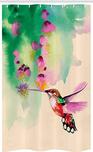 ABAKUHAUS Natur Schmaler Duschvorhang, Colibri & Blumen, Badezimmer Deko Set aus Stoff mit Haken, 120 x 180 cm, Grüne Fuchsie