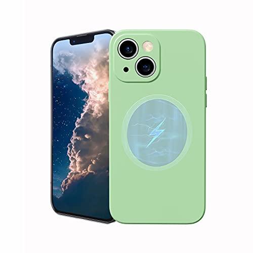 Funda magnética de silicona para iPhone 13 con carga inalámbrica Mag-Safe, ultra fina a prueba de golpes y arañazos, TPU suave, iPhone 13 Mag-Safe Case 6.1'', verde claro
